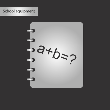black and white style icon math book