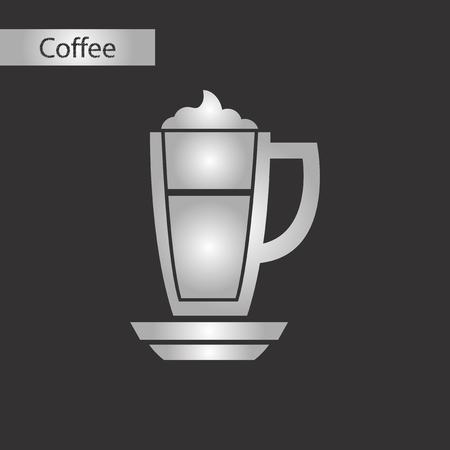 black and white style icon coffee cup of latte Ilustrace