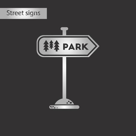 black and white style icon park sign Ilustração