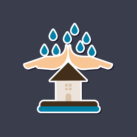 paper sticker on stylish background nature hand house rain