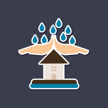 paper sticker on stylish background nature hand house rain