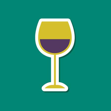 paper sticker on stylish background of glass of wine