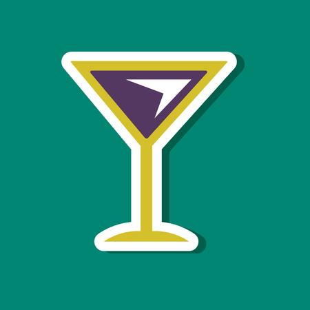 paper sticker on stylish background martini glass  イラスト・ベクター素材
