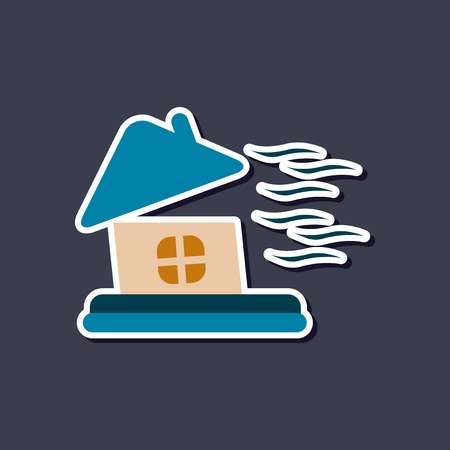 paper sticker on stylish background storm the house Imagens - 122825914