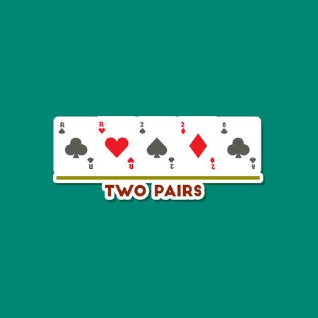 paper sticker on stylish background of poker two pairs Vektorové ilustrace