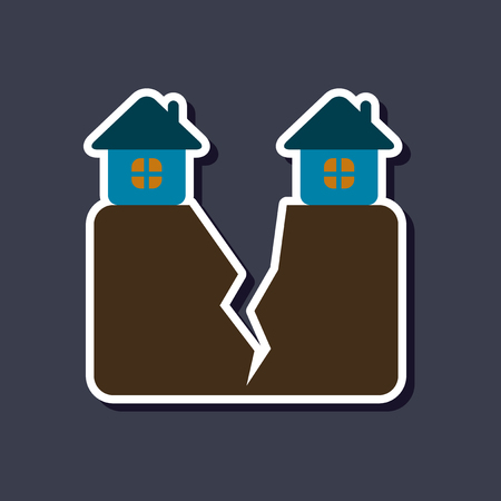 paper sticker on stylish background of house earthquake Illustration