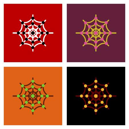 assembly flat icons spiders web Ilustração