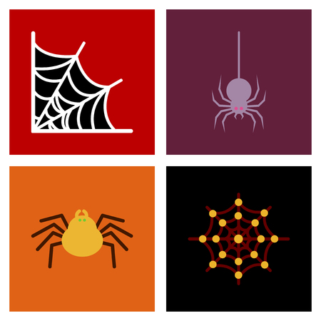 assembly flat icons halloween spider web