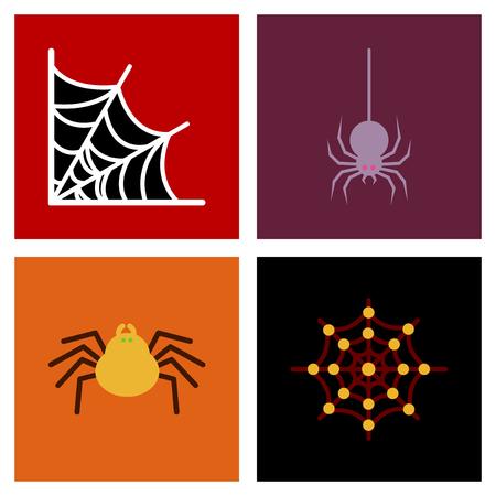 montaje plano iconos halloween telaraña