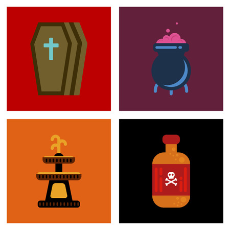assembly flat icons Halloween symbols Illustration