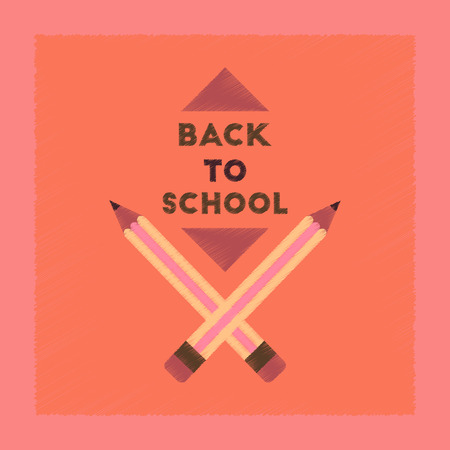 flat shading style icon Back to school pencil  イラスト・ベクター素材