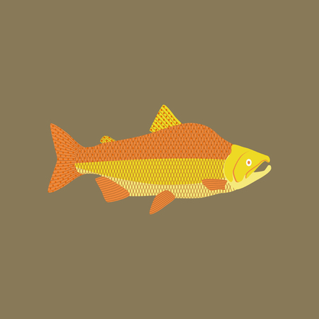 Vector illustration in flat style pink salmon