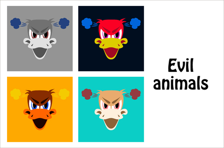 assembly of flat icons on theme evil animals duck