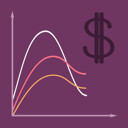 flat icon on theme Arabic business dollar chart