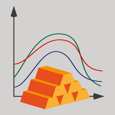 flat icon on theme Arabic business bar chart Ilustrace
