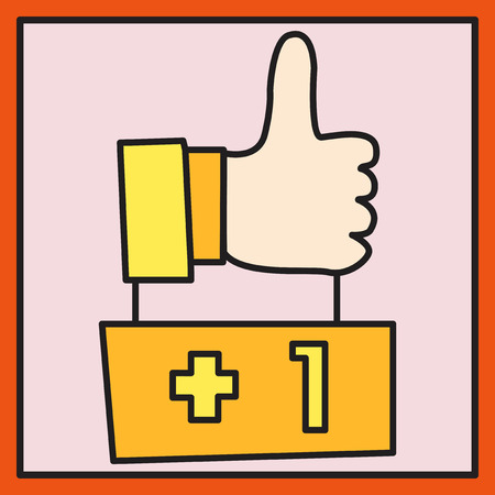 Thumbs up like social network (Facebook etc.) icon new appreciation number symbol. Idea - blogging and online messaging, social networking services.