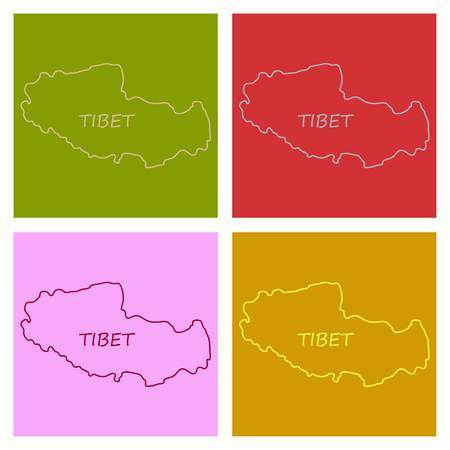 Highly Detailed Country map Tibet Stock Vector - 125904448