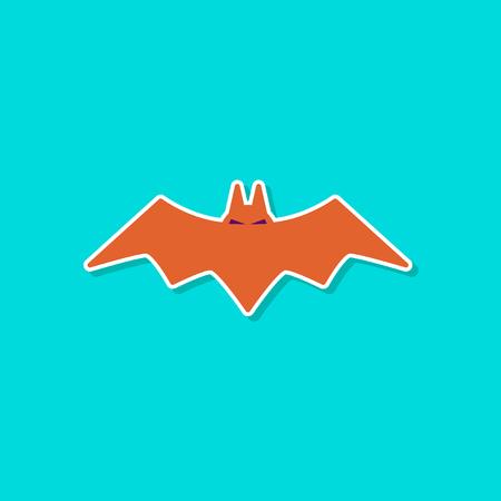 paper sticker on stylish background halloween bat