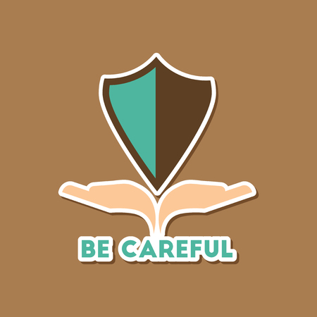 paper sticker on stylish background nature be careful hand shield Ilustrace