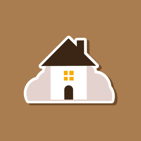 paper sticker on stylish background of House covered with snow Illustration