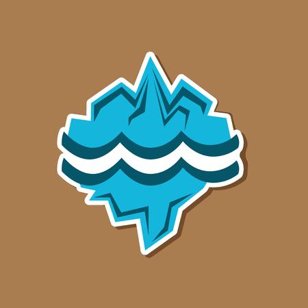paper sticker on stylish background of nature melting glacier Illusztráció