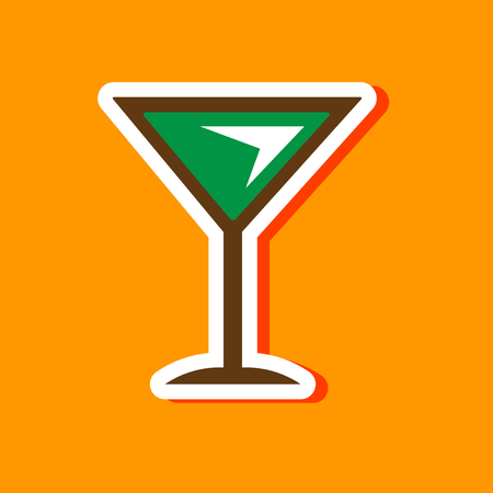 paper sticker on stylish background martini glass Illustration