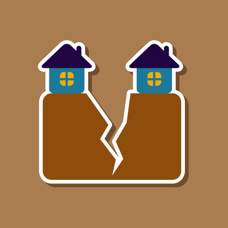 paper sticker on stylish background of house earthquake