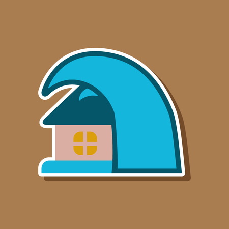 paper sticker on stylish background of tsunami house
