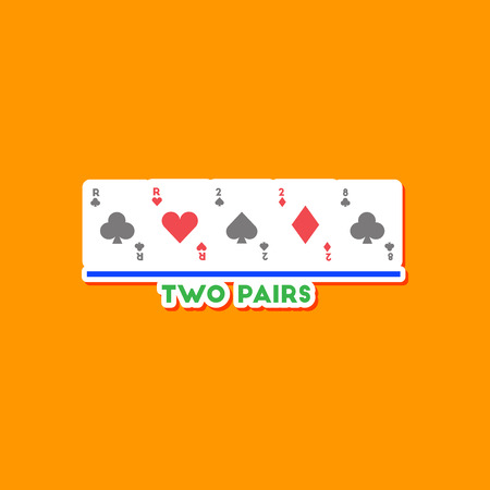 paper sticker on stylish background poker two pairs