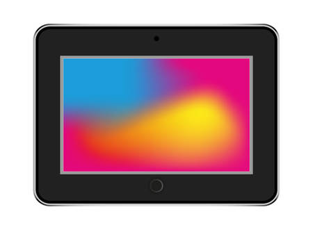 tablet in style black color with trending backgrounds Illustration