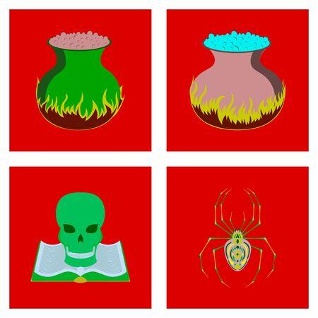 assembly of flat illustration halloween danger spider book skull cauldron bat