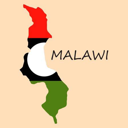 detailed illustration Malawi map