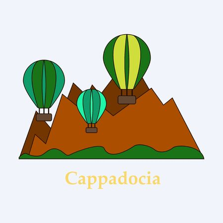 Illustration of a popular turkish travel destination Cappadocia. Balloons in the sky.