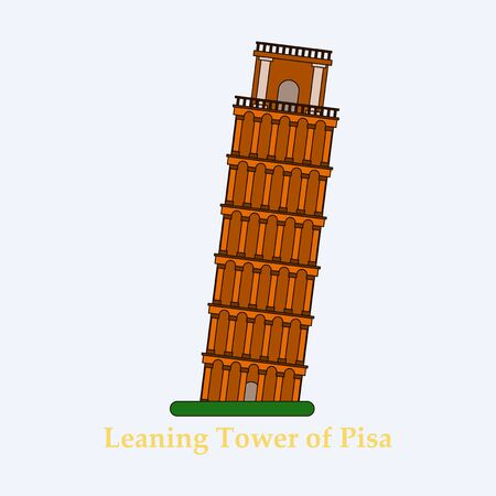 the leaning tower of pisa, graphical hand-painted vintage illustration,vector Italian sightseeing 矢量图像
