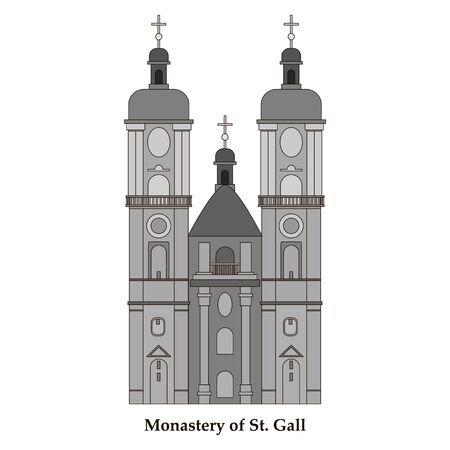 Switzerland, Abbey of Saint Gall, vector travel illustration, flat icon