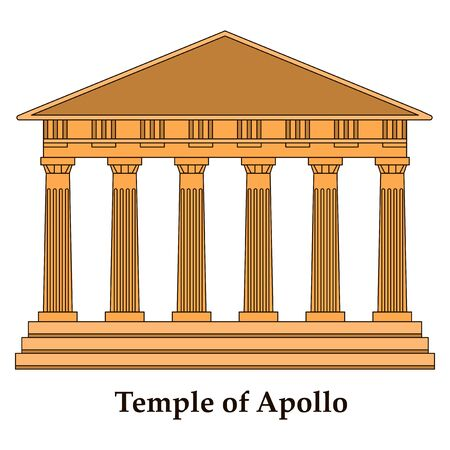 Greece, Temple of Apollo, vector outline illustration, flat icon