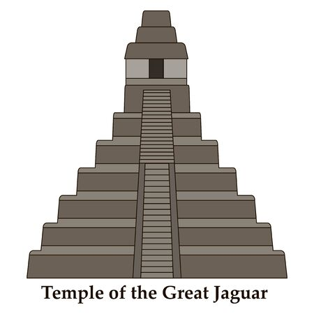 Architectural building. Countries of the world, architecture, monuments, landmark. Pyramid - the Temple of the Great Jaguar, in Cuba. Vector illustration.