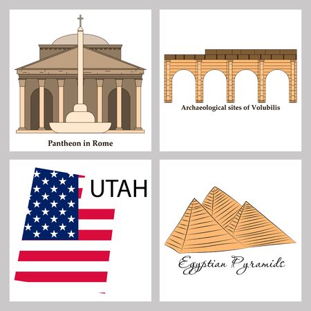 famous place and monument around the world. Ilustracja
