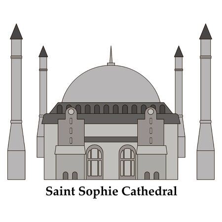 Cartoon Turkey symbols and objects set: Saint Sophie Cathedral, Maidens Tower, palace of Topapa, Galata Tower, Istanbul architecture.