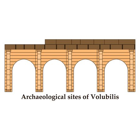 Historical landmark of Volubilis City in Morocco. Hand drawn sketch illustration in vector. Ilustração