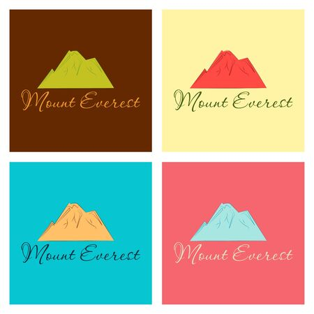 Everest - snowbound Himalayas mountain label. Mount Everest, mountain symbol, abstract patch, with name, and height in meters, vector illustration Illustration