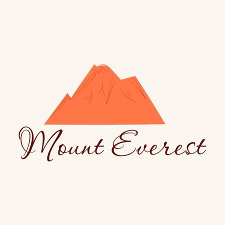 Everest - snowbound Himalayas mountain label. Mount Everest, mountain symbol, abstract patch, with name, and height in meters, vector illustration 向量圖像