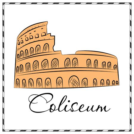 Colosseum in Italy icon in cartoon style isolated on white background. Countries symbol stock vector illustration.