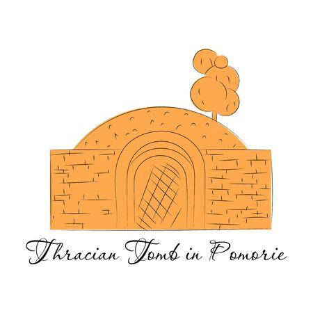 Landmarks of Bulgaria. Thracian Tomb in Pomorie  イラスト・ベクター素材