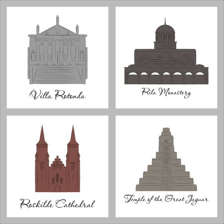 famous place and monument around the world. Illustration