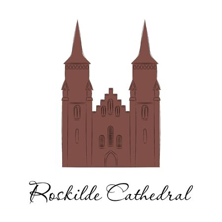 World sights. Travel to Europe. Architectural building, famous church of Denmark, cathedral of Diocese of Zeeland, mausoleum of Roskilde. Vector illustration isolated on white background.