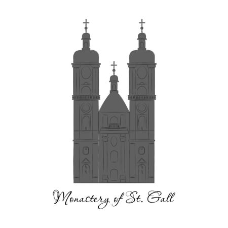 Switzerland, Abbey of Saint Gall, vector travel illustration, flat icon.