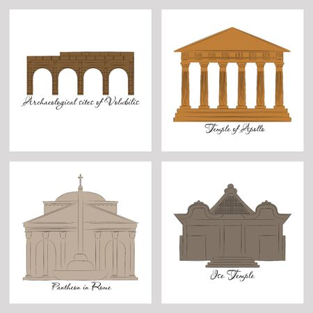 famous place and monument around the world. Stock Illustratie