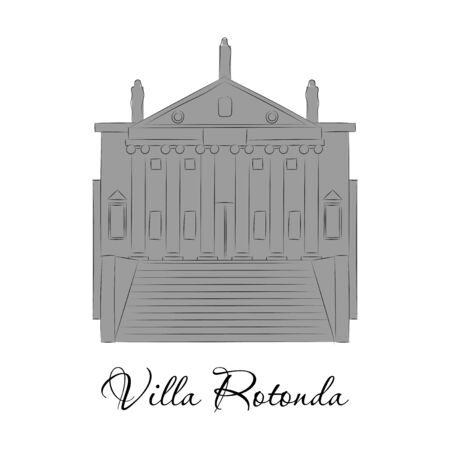 Vector illustration of classical villa with rotunda. Historical mansion.