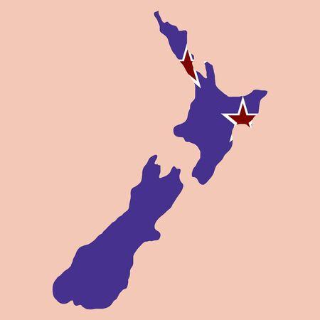 Pop art map of new Zealand